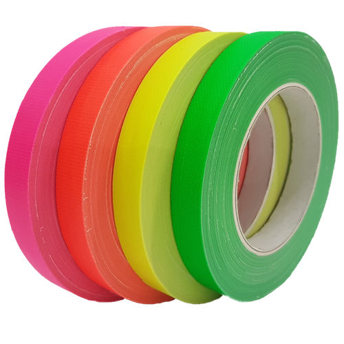 4x Set Neon  FLUORESCENT 19mm x 25m Gaffa Tape Fabric Tape Adhesive Tape