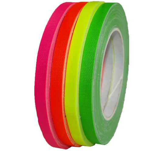 Neon 9mm x 25m Gaffa fabric tape UV-active Fluorescent