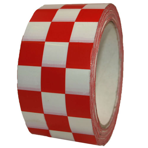 PVC Klebeband Karomuster 50mm x 66m ROT WEISS Karo Raceflag CHECKERED Tape