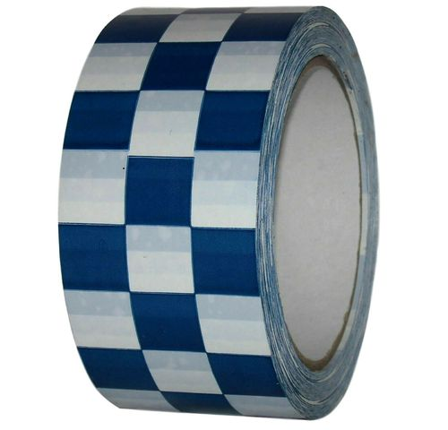 PVC adhesive tape check pattern 50mm x 66m BLACK WHITE